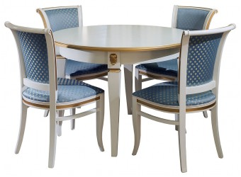 Обеденный стол «Милана 12А» П318.08 (слоновая кость с золочением)