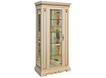 Шкаф-витрина для гостиной «Милана 8» П265.08-01 (слоновая кость с золочением)