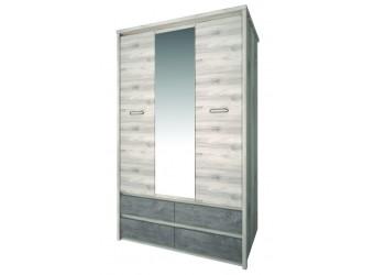 Трехстворчатый шкаф для одежды с зеркалом Джаз 3DG4S Z оникс