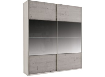 Шкаф-купе для одежды с зеркалом Комфорт 200-1 Z крем вудлайн, дуб анкона