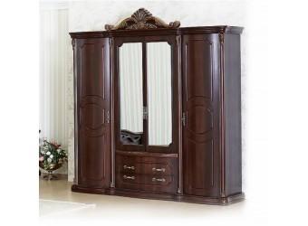 Шкаф 4-х дверный Меланж (темный орех)