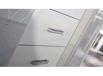 Длинный комод для посуды в гостиную Мира MIRA-09 белый