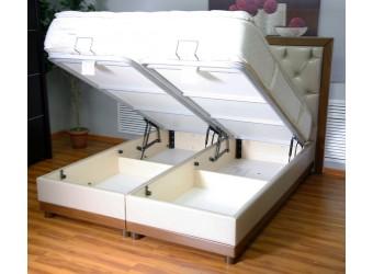 Двуспальная кровать с подъемным механизмом и мягким изголовьем Лаура LAURA в кожзаме D0245