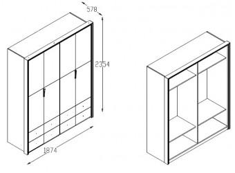 Четырехстворчатый   шкаф для одежды Пальма PALMA-20