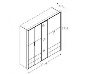 Пятидверный   шкаф для одежды с зеркалом в спальню Пальма PALMA-33