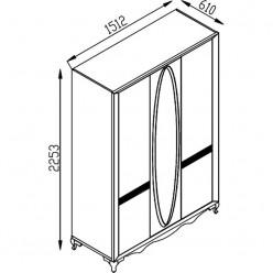 Трехстворчатый шкаф в спальню Седеф SEDF-30
