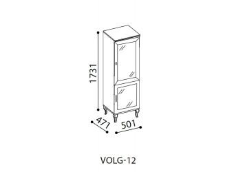 Одностворчатый шкаф витрина для посуды в гостиную Волга(белая) VOLGA-12