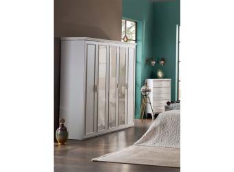Пятистворчатый распашной шкаф для одежды и белья с зеркалом в спальню Волга(светлый) VOLGA-33