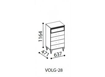 Узкий бельевой комод Волга(светлый) VOLGA-28