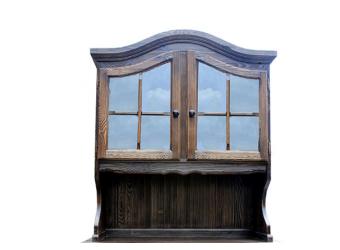 Настенный шкаф-витрина Лотос сосна Б-1076BRU ( брашированный мокко)