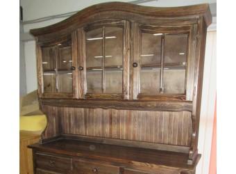 Настенный шкаф-витрина Лотос сосна Б-1077BRU (брашированный мокко)