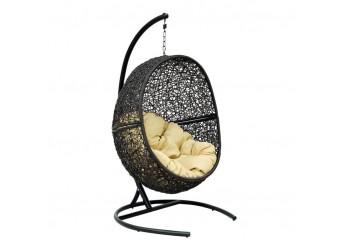 Подвесное кресло Lunar Black Flying Rattan из искусственного ротанга сборно-разборное