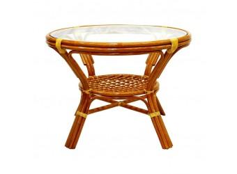 Обеденный стол Classic Rattan 22/02 из ротанга со стеклом