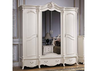 Четырехстворчатый шкаф для одежды Лоренцо КА-ШК белый жемчуг