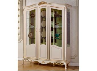 Трехстворчатый шкаф-витрина для посуды Бьянка КА-ШВ