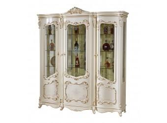 Трехстворчатый шкаф-витрина для посуды Венеция КА-ШП