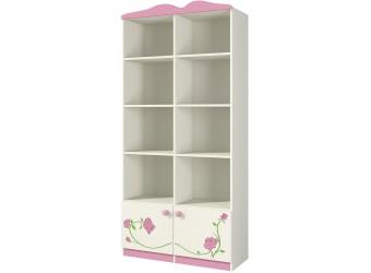 Детский двухсекционный открытый шкаф с полками для игрушек Розалия Ш90-1Д1