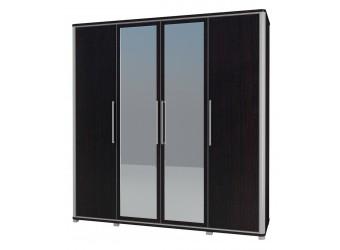 Четырехстворчатый шкаф для одежды с зеркалом в спальню Наоми МН-021-04