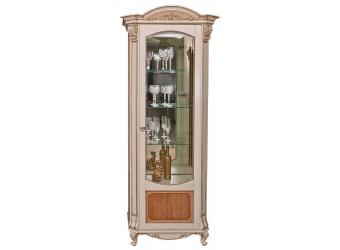 Шкаф с витриной «Альба 8» П485.08 (слоновая кость с золочением)