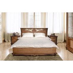 Кровать двойная Алези с низким изножьем (античная бронза)