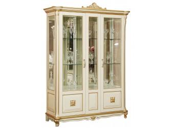 Шкаф-витрина «Алези 5 Люкс» П350.05л (слоновая кость с золочением)