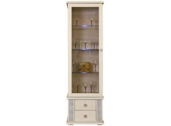 Шкаф с витриной «Тунис» П343.01Ш (слоновая кость с серебром)