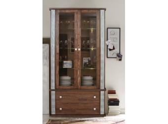 Шкаф с витриной «Тунис» П343.12Ш (венге с серебром)