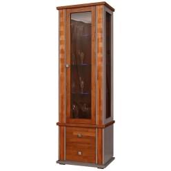 Шкаф с витриной «Тунис» П343.19-1Ш (медовый с золочением)