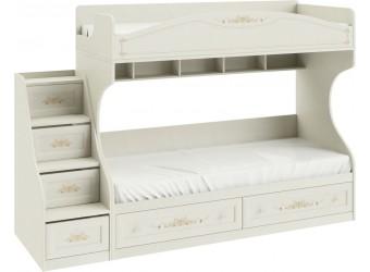 Кровать двухъярусная с приставной лестницей «Лючия» (Штрихлак) СМ-235.11.01