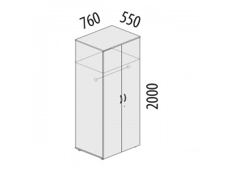 Двухстворчатый шкаф для одежды Альфа 62.42