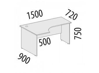 Угловой компьютерный стол Альфа 63.22 левый