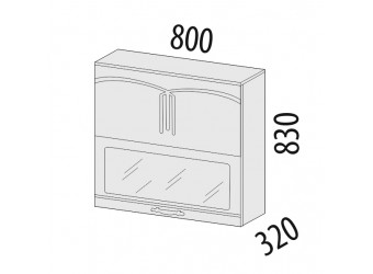 Шкаф-витрина Каролина 11.81 (с системой плавного закрывания)