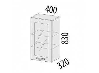 Шкаф-витрина кухонный навесной Рио 16.04