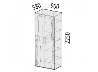 Двухстворчатый шкаф для одежды Соната 98.13 многофункциональный