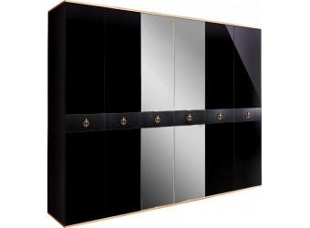 Шестистворчатый шкаф для одежды с зеркалом Rimini Solo РМШ1/6 (s) (черный)