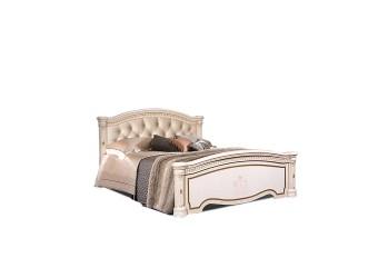 Двуспальная кровать с подъемным механизмом Карина-3 К3КР-3 с мягкой спинкой и шелкографией (бежевая)