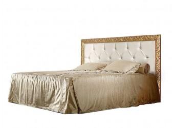 Двуспальная кровать с подъемным механизмом Тиффани Премиум ТФКР-2(П) с мягкой спинкой со стразами (капучино, золото)