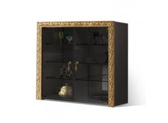 Тумба-витрина для посуды Тиффани Премиум ТФП-3(П) (черный, золото)