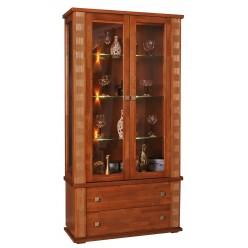 Шкаф с витриной «Тунис» П343.20Ш (медовый с золотом)